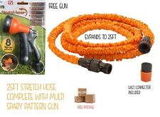Stretch Garden Hose With Free Spray Gun & Fast Connector Self Expanding To 25ft