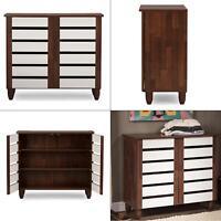 gisela white and medium brown wood storage cabinet | shoe baxton studio oak door