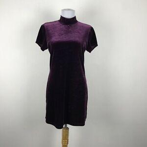 Vintage 1990s Purple Mini Stretch Velvet Dress Size S Short Sleeve My Michelle