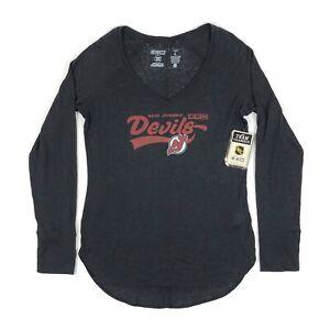 New Jersey Devils Womens Large Burnout V-Neck Long Sleeve Shirt NHL CCM Pro OK'd