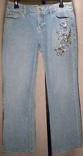 ANN TAYLOR LOFT Light Wash Straight Leg Jeans w/Embroidered Flower Sz 6P