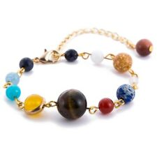 Universe Solar System Galaxy Eight Planets Stone Beads Chain Bracelet Gift New