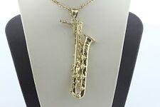 Vintage 14K Yellow Gold Detailed Baritone Saxophone Musical Instrument Pendant