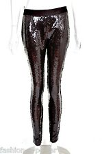 ALEXANDER McQUEEN F/W 2008 BROWN SEQUINNED WET LOOK LEGGINGS BNWT IT 40 UK 8