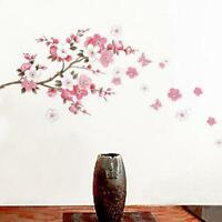 Bedrrom Plum Cherry Blossom Flower Butterfly Mural Wall Decal Stickers Decor HS