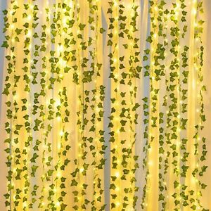 84 Ft 12 Pcs Artificial Ivy Garland Fake Vines With 100 LED 32 Ft Light Decor