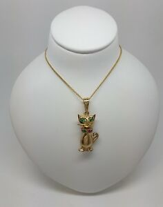 Miran 080157 9k Stamp 375 Yellow Gold Cat CZ Pendant RRP475