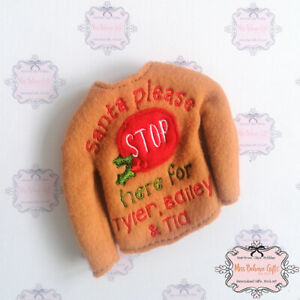 Personalised Elf of the Shelf Santa Please Stop Here Christmas Jumper Clothes