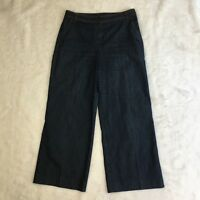 St John Women's Wide Leg Trouser Capri Cropped Pants Dark Denim Black Label Sz 4