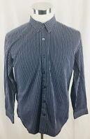 Banana Republic Slim Fit Blue Button Front Striped Shirt Mens Large 16 - 16.5
