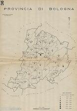 Provincia di Bologna:Tutti i Comuni 1938,Carta Topografica.Anno XVI Era Fascista