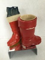 Vintage Santa Claus Boot Paper Mache Christmas Candy Container - Lot of 2