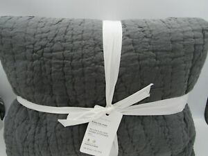 Pottery Barn Belgian Flax Linen Handstitched King Quilt ~Charcoal~