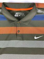 Nike Golf Sport Dri Fit Striped Polo Golf Shirt sz XL Brown Orange Blue