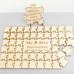 Wedding jigsaw personalised Puzzle Guest book including free Sign made from wood