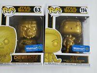 Funko POP! Disney Star Wars Chewbacca Gold #63 & Rey Gold #114 Walmart Exclusive
