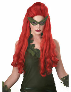 Lethal Beauty Poison Ivy Batman Supervillain Red Womens Costume Wig