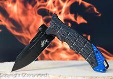 Speed Lock Spring Assisted Blue Stinger Tactical Combat Knife w Belt Clip 40BL