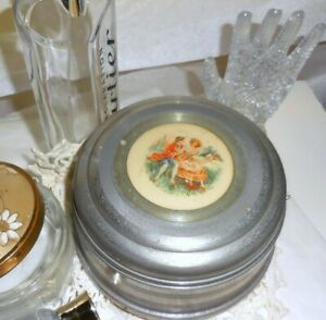 Vintage Musical Powder Box Ladies Vanty Boite Au Poudre Metal w/ Enamel Inlay