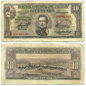 URUGUAY NOTE 10 PESOS 1939 SERIAL C CR# 10.V.18 P 37c