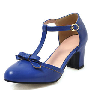 Women's Bowtie T-Strap Pointed Toe Chunky Heel Mary Jane Pumps Shoes US 6 Blue
