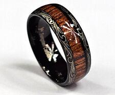 Men Koa Wood Inlay Black Tungsten Carbide Ring Wedding Engagement Rings