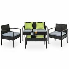 Gardeon FF-SAIPAN-BK Wicker Furniture Sofa Set - 4 Piece