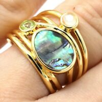 3Ct Natural Abalone Ring Women Holiday Wedding Birthday Jewelry 14K Yellow Gold