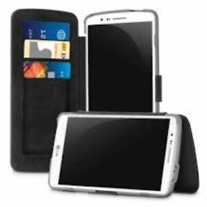 PUREGEAR BLACK FOLIO WALLET CASE COVER CARD SLOT STAND FOR LG G3 PHONE