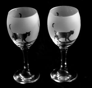 Cat Wine Glasses. Hand crafted by Glass in the Forest. Boxed
