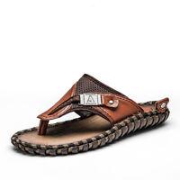 Men's Genuine Leather Luxury Shoes Summer Slippers Beach Sandals Flip Flops New