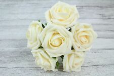 1 Bunch Colourfast Foam Rose Bouquet Wedding Artificial 6 Flowers 35 Colours 5cm Cream