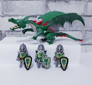 Playmobil Green Dragon with knights bundle, castle figures playset, accessories