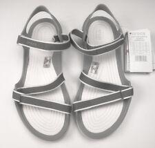 Crocs Womens Swiftwater Webbing Flat Sandals (Smoke/Oyster)