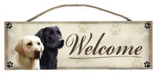 "Black & Blond Labrador ""Welcome"" Rustic Wall Sign Plaque Gifts Pets Dogs Home"