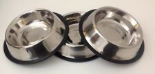 3 x Pet Food/Water Bowl/Dish-Cat/Dog-Anti-skid/Rubber/Stainless steel-16 Oz