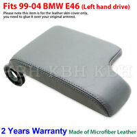 Leather Armrest Console Lid Cover Skin for BMW E46 3 Series 1999-2005 Gray LHD