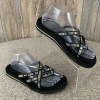 Teva Sandals Womens 7 Strappy Grey*Black Thong Toe Open BAck Slip-On Foam Soles