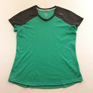 Nike Running Dri-Fit Womens Size L Green Athletic Active T-Shirt Stretch Jogger