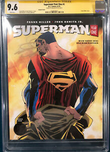 FRANK MILLER SIGNED SUPERMAN YEAR ONE #1 CGC 9.6 COMIC BOOK marked case