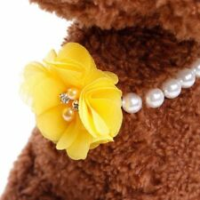Dog Pet Pearl Necklace Collar Charm Elastic Flower Pet Puppy Jewelry Collar US