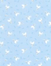 Nursery Baby Fabric - Small White Bunny Rabbit Blue - Timeless Treasures YARD