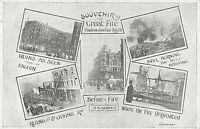 POSTCARD LONDON - CLAPHAM JUNCTION - MULTI VIEW - GREAT FIRE   - c1909 - RP