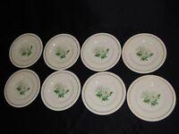 "8 Hanover China Silver Rose 8"" Salad Plates White Flower"