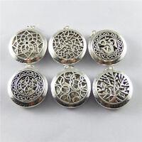 2/6pcs Antiqued Silver Locket 24mm Round Essential Oil Diffuser Crafts Pendants