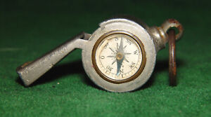 Vintage Antique Metal Compass Whistel with Wooden Pea and Lanyard Loop