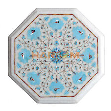 "13"" White Marble Side Coffee Table Top Turquoise Floral Inlay Patio Decors W154"