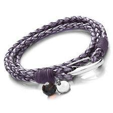 Tribal Steel 19cm Ladies Violet / Purple Double Wrap-Around Leather Bracelet