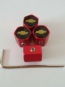 CHEVROLET locking Wheel Valve Dust caps all models Matte Red  other colours