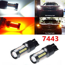 2pc 7443 7444 Switchback LED Turn Signal Brake Parking Light Bulb Amber White